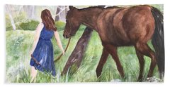Hand Towel featuring the painting A Girl's Best Friend by Lucia Grilletto