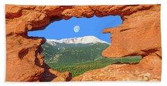 A Glimpse Of The Mighty Rockies Through A Rocky Window  Bath Towel