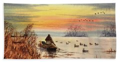 A Great Day For Duck Hunting Bath Towel by Bill Holkham