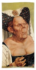 A Grotesque Old Woman Hand Towel