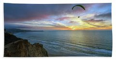 A Hang Glider And A Sunset Hand Towel