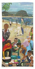 Hand Towel featuring the painting A Heavenly Day - Lumley Beach - Sierra Leone by Mudiama Kammoh
