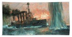 A Heavy Cruiser At The Battle Of Jutland Bath Towel