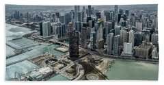 A Helicopter View Of Chicago's Lakefront Hand Towel