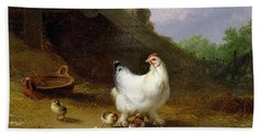 A Hen With Her Chicks Hand Towel by Eugene Joseph Verboeckhoven