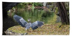 A Heron's Wings Hand Towel by Keith Boone
