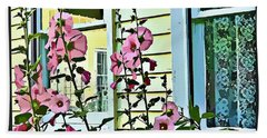 Hand Towel featuring the digital art A Holly Hocks Morning by Mindy Newman