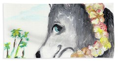 A Husky In Paradise Hand Towel