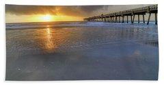 A Jacksonville Beach Sunrise - Florida - Ocean - Pier  Hand Towel