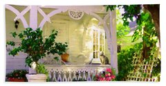 Bath Towel featuring the painting A Key West Porch by David  Van Hulst