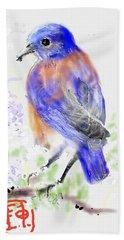 A Little Bird In Blue Hand Towel