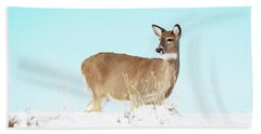 A Lonley Deer In Snow Bath Towel