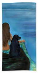 Hand Towel featuring the painting A Loyal Buddy by Leslie Allen