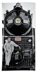 A Man And His Locomotive Bath Towel