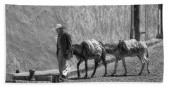 A Man With Two Burros Bath Towel