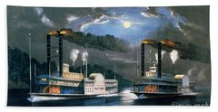 A Midnight Race On The Mississippi Bath Towel