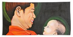 Hand Towel featuring the painting A Moment With Dad by Cyril Maza