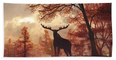 A Moose In Fall Hand Towel by Daniel Eskridge