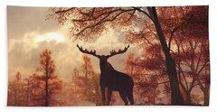 Bath Towel featuring the digital art A Moose In Fall by Daniel Eskridge