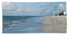 A Morning Walk On Fort Myers Beach Fort Myers Florida Hand Towel