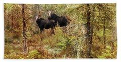 A Mother And Calf Moose. Bath Towel