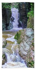 A Mountain Stream Rapidly Carries Clean Drinking Water Down In Valley Bath Towel