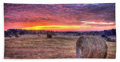 Hand Towel featuring the photograph Before A New Day Georgia Hayfield Sunrise Art by Reid Callaway