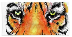 Hand Towel featuring the painting A Nice Tiger by Terry Banderas