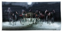 A Night Of Wild Horses Bath Towel