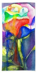 A Painted Rose In The Rain Hand Towel