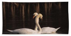 A Painting Of A Pair Of Mute Swans Hand Towel