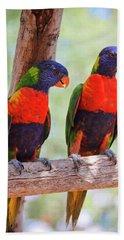 A Pair Of Rainbow Lorikeets On A Branch Bath Towel