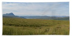 A Panoramic Landscape Of The Scottish Highlands Near Tongue Bath Towel