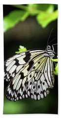 Bath Towel featuring the photograph A Paper Kite Butterfly On A Leaf  by Saija Lehtonen