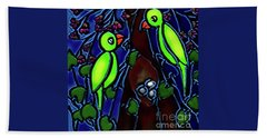A Parrot Family In Wilderness Bath Towel