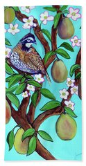 A Partridge In A  Blooming Pear Tree Hand Towel by Ecinja Art Works