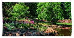A Peaceful Feeling At The Azalea Pond Bath Towel by Tamyra Ayles