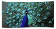 A Peacock With His Feather's Expanded Bath Towel by DejaVu Designs