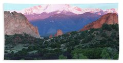 A Pikes Peak Sunrise Hand Towel by Eric Glaser
