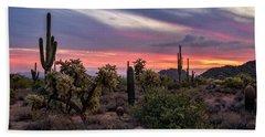 Bath Towel featuring the photograph A Pink Kissed Desert Sunset  by Saija Lehtonen