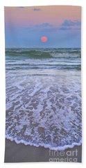 Bath Towel featuring the painting A Pink Moon Hdr by Linda Olsen