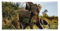 A Protective Mama Elephant With Calf  Bath Towel