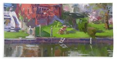 A Quiet Afternoon By The Canal Bath Towel