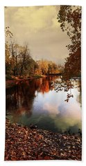 a quiet evening in a city Park painted in bright colors of autumn Hand Towel