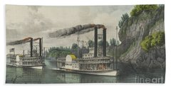 A Race On The Mississippi, 1870 Bath Towel