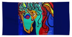 Hand Towel featuring the painting A Rainbow Called Romeo by Alison Caltrider