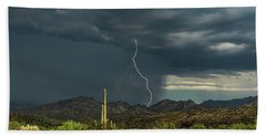 Hand Towel featuring the photograph A Rainy Sonoran Day  by Saija Lehtonen