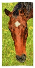 Hand Towel featuring the photograph A Real Star In The Pasture by Sandi OReilly