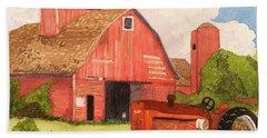 A Red Barn Bath Towel by Rand Swift