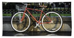 A Red Bicycle Near Jackson Square, New Orleans, Louisian Bath Towel